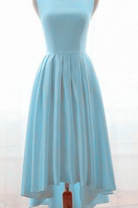 Charming Ice Blue High Low Satin Bridesmaid Dresses