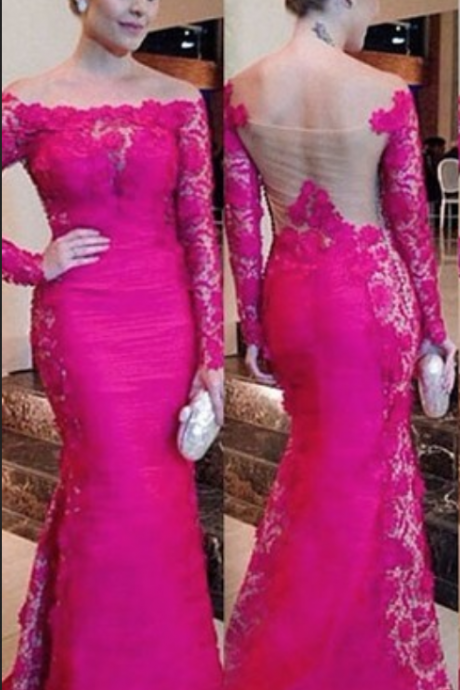 Charming Long Sleeve Lace Real Made Prom Dresses,Long Evening Dresses,Prom Dresses On Sale