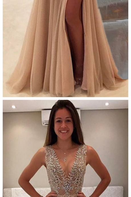 Deep V Prom Dress,Beaded Prom Dress,Fashion Prom Dress,Sexy Party Dress,Custom Made Evening Dress