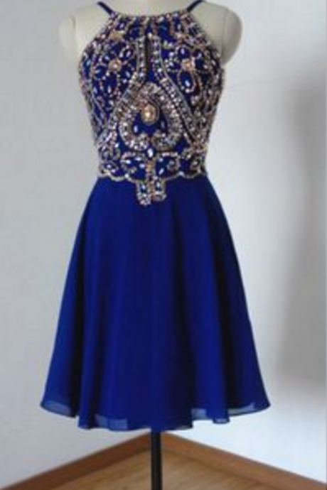 Homecoming Dresses,Rhinestone Homecoming Dresses,Open Back Homecoming Dresses,Navy Blue Homecoming Dresses,Chiffon Homecoming Dresses,Juniors Homecoming Dresses,PD0564