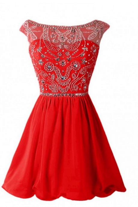 Red Homecoming Dresses Zippers Cap Sleeve Beaded Above Knee Bateau Aline
