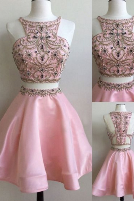 Two Pieces Homecoming Dresses,Pink Homecoming Dresses,Beaded Homecoming Dresses,A-line Homecoming Dresses,Short Prom Dresses,Party Dresses