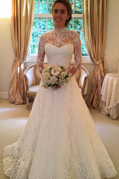 Vintage Wedding Dresses,Long Sleeves Wedding Dresses,Lace Wedding Dresses,Sheer Wedding Dresses