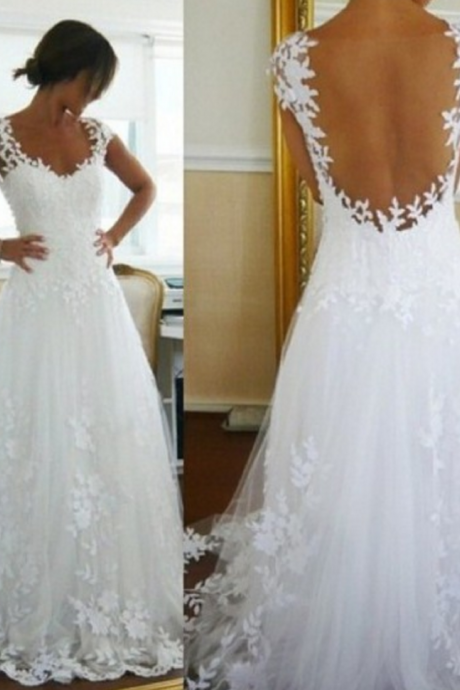 Long Wedding Dress, Charming Wedding Dress, Applique Backless Wedding Dress