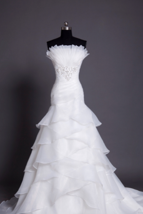Strapless Ruched Beaded White Organza Mermaid Wedding Dress with Tiered Ruffle Skirt