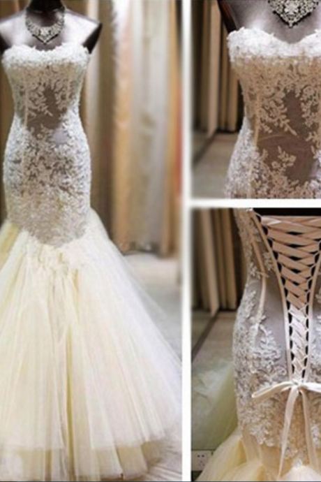Gorgeous Wedding Dresses,Sheath Mermaid Wedding Dresses,See Through Wedding Dresses,Lace Tulle Wedding Dresses,Applique Wedding Dresses