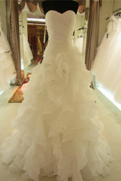 Lace Up Handmade High Quality Prom Dresses,Sweetheart Long Wedding Gowns,Pretty Bridal Gowns