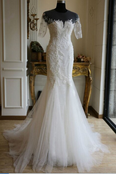 Appliques Wedding Dresses,Sexy Wedding Dresses, New Arrival Wedding Dress, Luxury New White/Ivory Half SLeeves Wedding Dress ,Bridal Gown ,A line Custom Backless Ivory Wedding Dresses, Long Backless wedding Dresses, Bridal Dresses, wedding Dresses, Formal Dresses,Sexy Sheer Pleats Country Style wedding dresses ,Lace Bridal Gown wedding dresses