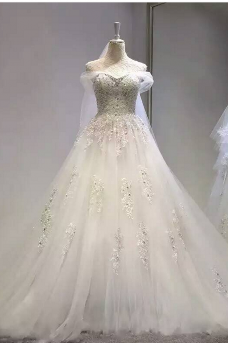 Wedding Dress,Wedding Gown,Bridal Gown,Bride Dresses, Long Wedding Dresses,Lace Wedding Dress,Applique Wedding Dress,Ball Gown Wedding Dresses,Beaded Wedding Dress,Crystal Wedding Gown ,Off-shoulder Wedding Dress,Tulle Wedding Dress,Lace Up Wedding Dress