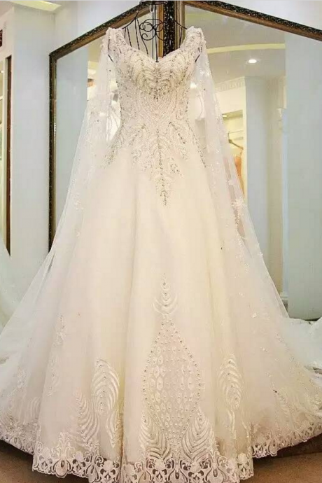 Wedding Dress,Wedding Gown,Bridal Gown,Bride Dresses, Long Wedding Dresses,Lace Wedding Dress,Luxury Wedding Dress,Dubai Wedding Dress,Beaded Wedding Dress,Pearls Wedding Gown,Ball Gown Wedding Dress,Court Train Wedding Dress,V-neck Wedding Gown