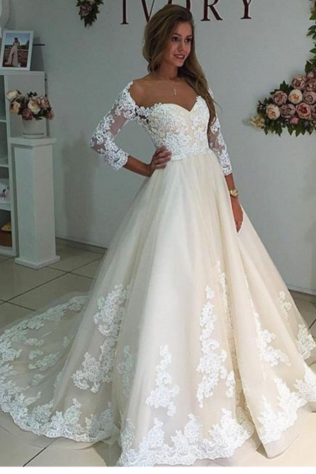 Cheap wedding dresses ,Sheer Neck Long Sleeves Ivory Wedding Dress with Lace