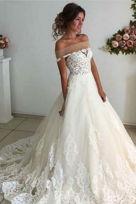 Affordable Lace Unique Wedding Dress,Off the Shoulder Online Charming Long Wedding Dresses,Elegant Tulle Wedding Dresses, Wedding Dresses,