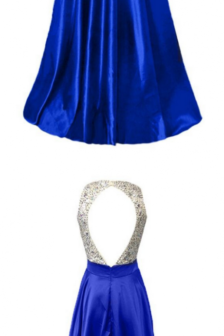 Royal Blue Stretch Satin Beaded Top Evening Dresses, Hot Cheap Back Hole Prom Party Gowns