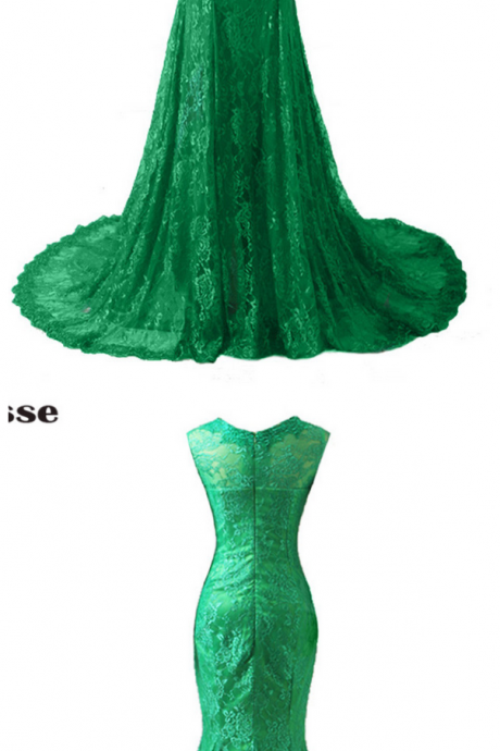 Lace Appliques Mermaid Long Evening Dresses, Vestido De Festa Long Sleeves Lady Prom Gown