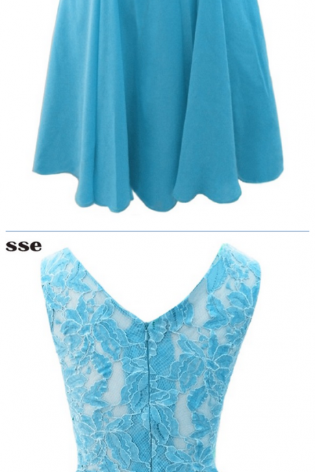 Blue Chiffon Lace Top Short Evening Dresses, Vestido De Festa Cap Sleeves Cheap V-Back Prom Party Gown