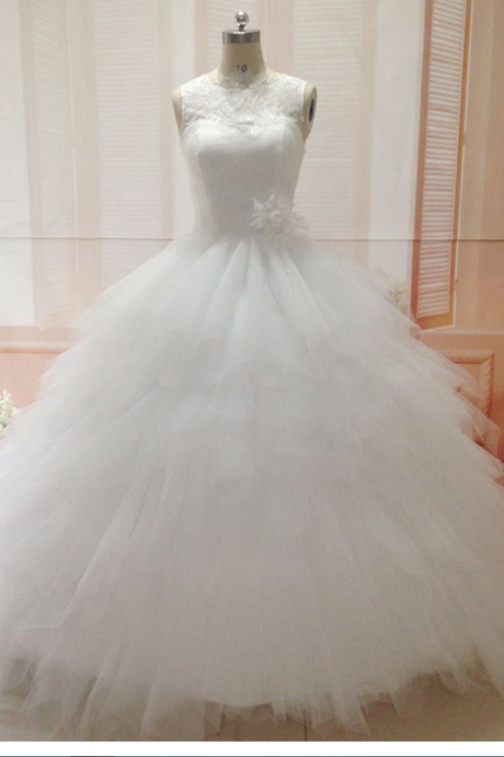Sheer Wedding Dresses, Ruffle Wedding Dresses, 2017 Real Picture Wedding Dresses, Lace Wedding Dresses, Real Photo Wedding Dresses, Vestidos de Noiva, Sexy Wedding Dresses, Hand Made Flowers Wedding Dresses, Ruffle Bridal Dresses, Actual Image Wedding Dresses, Tiered Wedding Dress, Tulle Bridal Dresses