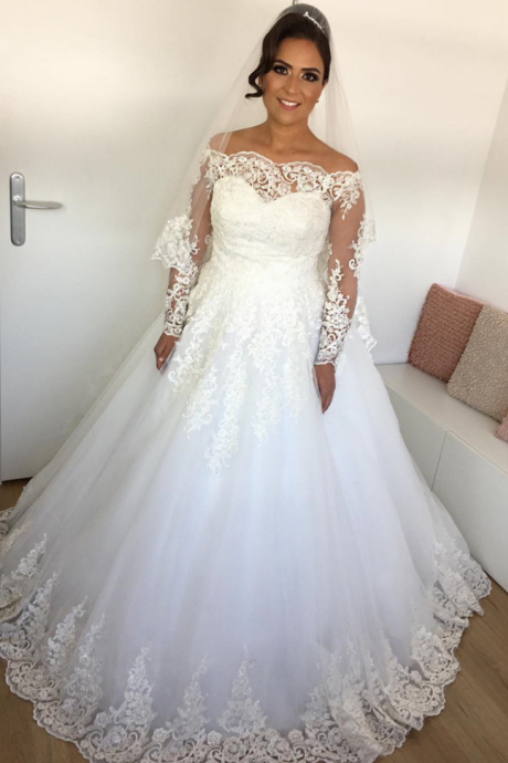 long sleeves wedding dress,lace wedding dress,ball gowns wedding dresses,off shoulder wedding gowns