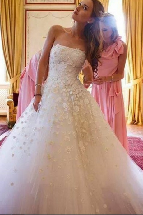 Cheap wedding dresses ,Vestido De Noiva Renda Vintage Tulle Princess Wedding Dresses Strapless Sleeveless Bridal Gowns Robe De Mariage Casamento