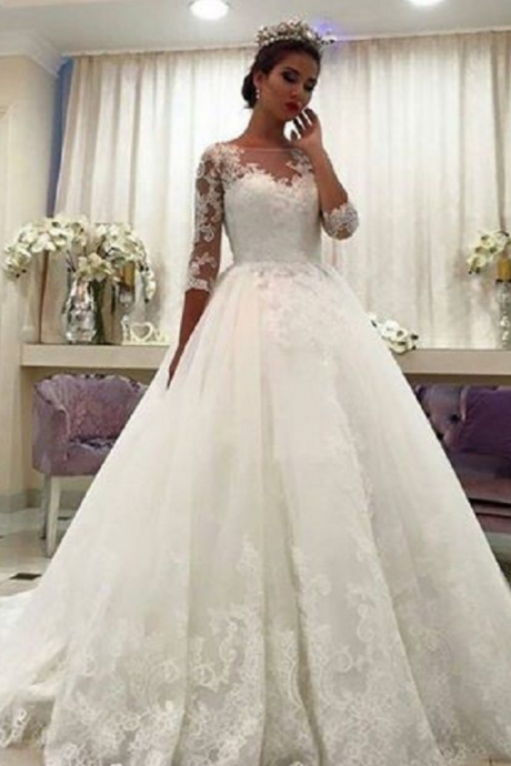 Gorgeous Ball Gown Wedding Dresses, Puffy Lace Beaded Applique White Long Sleeve Wedding Gowns