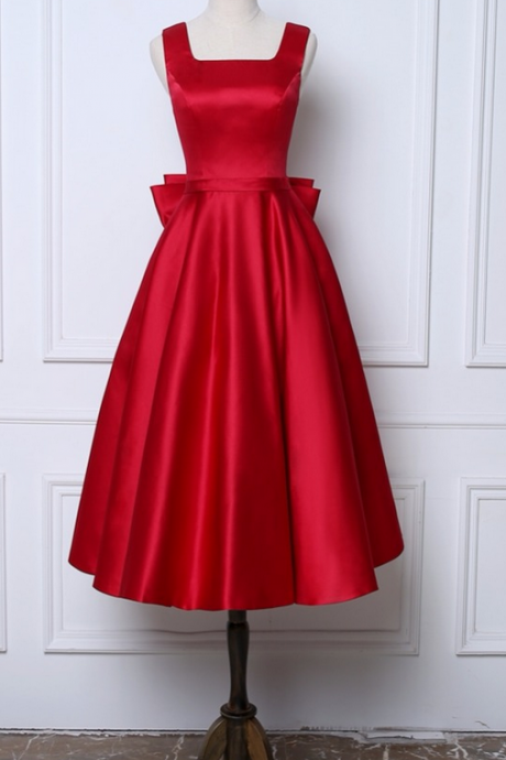 New Dark Red A-Line Evening Dresses ,Square Collar Satin Custom Made Prom Party Gown