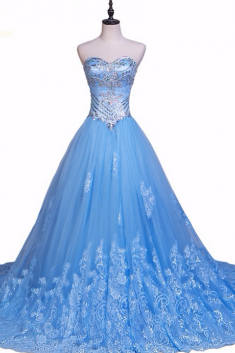 Longo Blue Party Dresses ,Tulle Lace Beaded Crystal A-line Sweetheart with Jacket Formal Evening Gowns