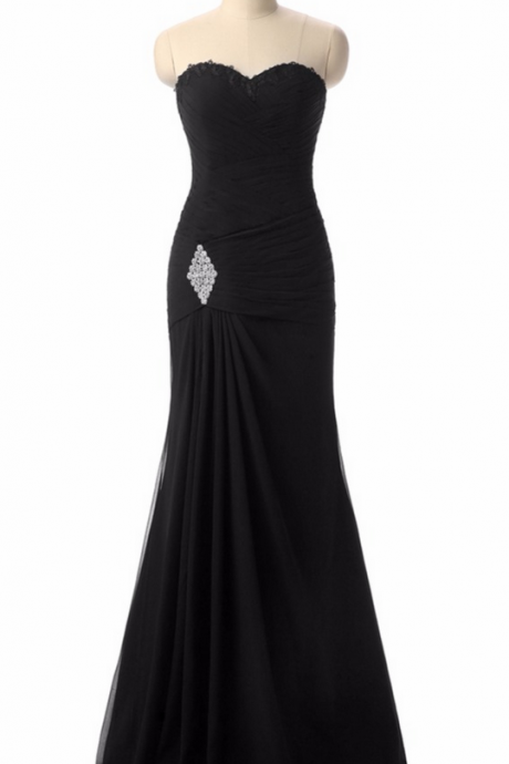 Black Evening Dresses, Appliques Custom Made Lace-up Back Chiffon Prom Party Gown