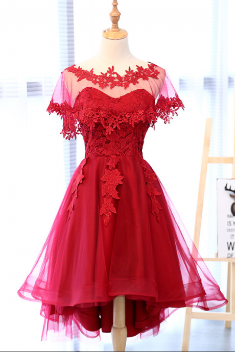 Red Lace Sweetheart With Veil Asymmetrical Off The Shoulder Tea-Length Evening Dress