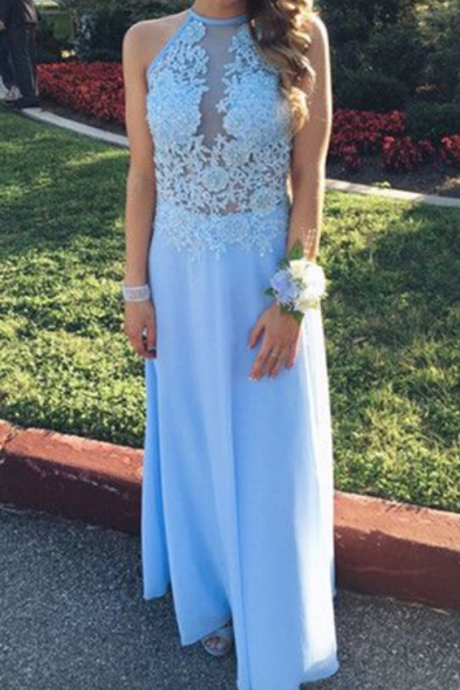 Lace Prom Dresses,Light Sky Blue Prom Dress,Modest Prom Gown,A Line Prom Gown,Lace Evening Dress