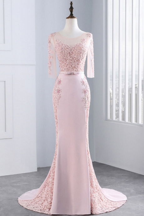Pink Long Sleeve Lace Mermaid Evening Dresses ,Party Women Prom Formal Evening Gowns Dresses