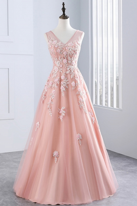 Pink Long Evening Dresses, Party Tulle Appliques A Line Women Beautiful Prom Formal Evening Gown Dress
