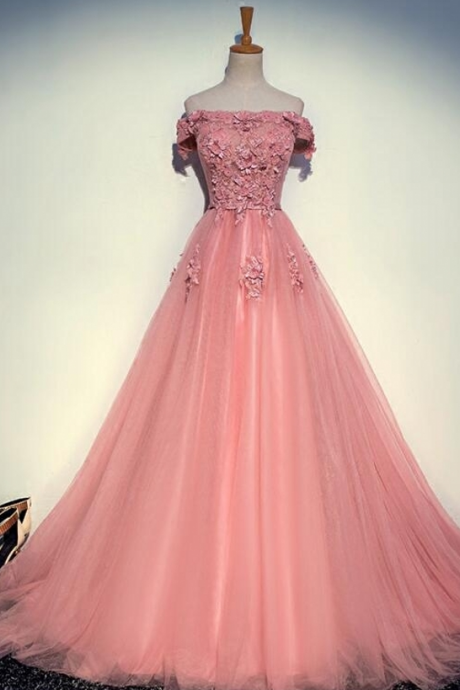 Lace Evening Dresses, Party Tulle Appliques Prom Formal Evening Gowns