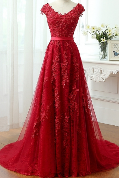 Lace Evening Dresses , A Line Prom Formal Evening Gown Dress