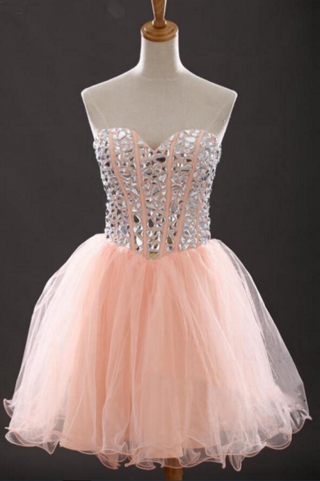 Rhinestone peach homecoming dress, Tulle homecoming dress, short homecoming dresses, homecoming dress, short prom dresses,