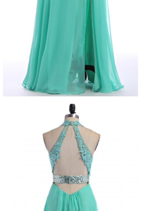 V-Neck Green Lace Chiffon Prom Dress,Evening Dresses