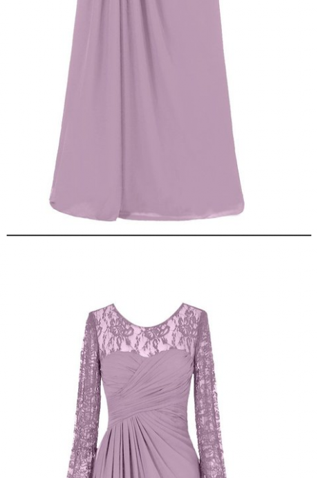 Purple Long Chiffon A-Line Evening Dress ,Featuring Ruched Sweetheart Bodice with Lace Sheer Long Sleeves