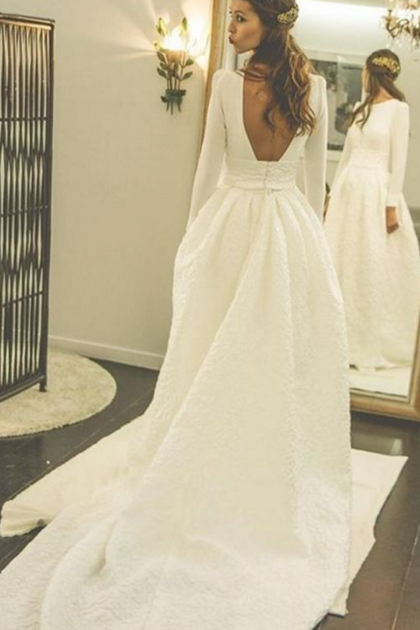 Romantic Wedding Dresses, Satin Wedding Dress, Court Train Bridal Wedding Dress, Simple Wedding Gown, Wedding Dress
