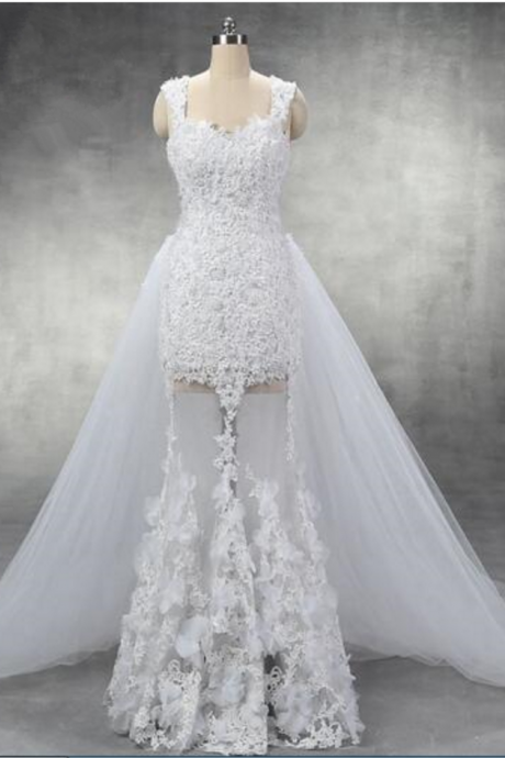 Sexy Cap Sleeves Pearl Beaded Lace Sheath Wedding Dress with Detachable Tulle Train See Through Skirt 3D Flowers Real Photos