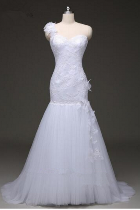 One Shoulder Sweetheart Mermaid Wedding Dress with Lace Appliqués