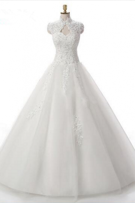 High-Neck Sleeveless Princess Wedding Ball Gown Featuring Lace Appliqués and Lace-Up Back