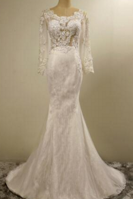 Fashion White Lace Long Sleeves Fishtail Wedding Dress Bridal Sexy Slim Luxury Embroidery Mermaid Wedding Gown