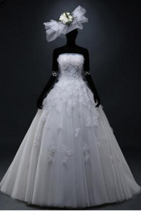 Exclusive Custom Real Picture Elegant Fashion Strapless Backless Appliques Flowers Sequined Lace A-Line Wedding Dresses