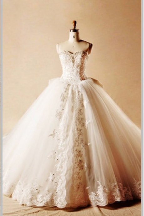 Wedding Dress Wedding Gowns Robe De Mariage Tulle Appliques Beading Ball Gown Wedding Dress