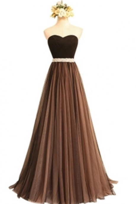 Brown Beading Ruched Sweetheart Long Bridesmaid Dress