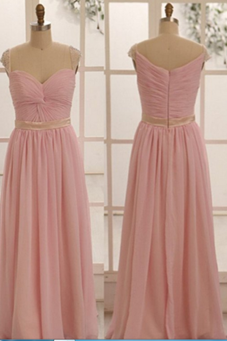 pink bridesmaid dress,long bridesmaid dress,chiffon bridesmaid dress,simple bridesmaid dresses