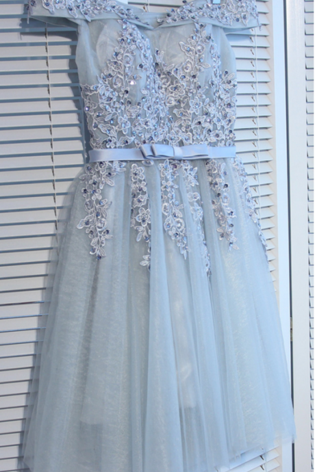short homecoming dresses,A-line Off-the-Shoulder Short Mini Tulle Short Prom Dress