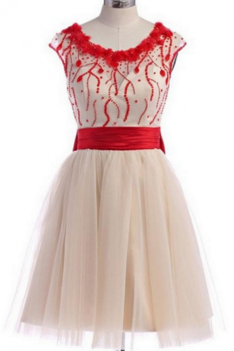Pretty Skirt With Red Beads Homecoming Dresses