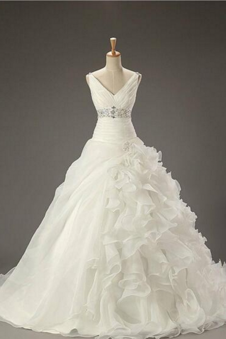 Ball Gown Prom Dresses, V-Neck Wedding Dresses, Empire Wedding Dresses, Beading Wedding Dresses, Lace-Up Wedding Dresses, Ivory Wedding Dresses, Custom Wedding Dresses