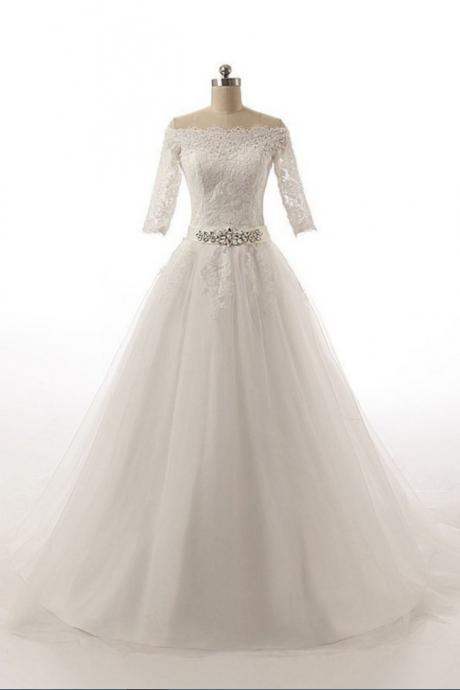Half Sleeves Long Ball Gowns Bodice Lace Wedding Dresses