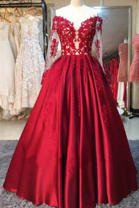 Long Sleeves Red Ball Gown