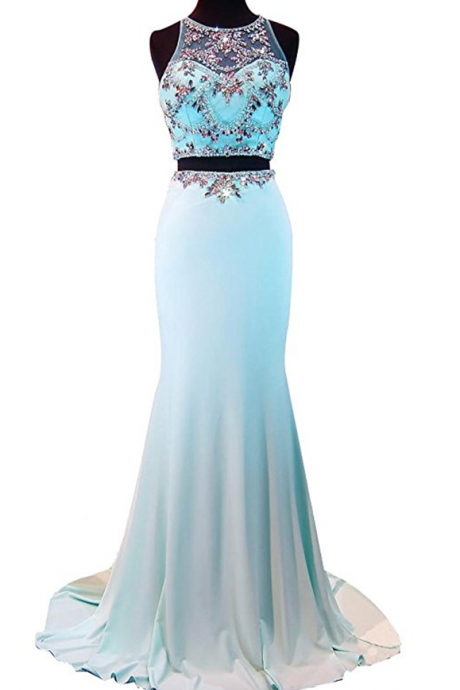 Women's Jewel Two Pieces Mermaid Beading Crystal Chiffon Evening Dress
